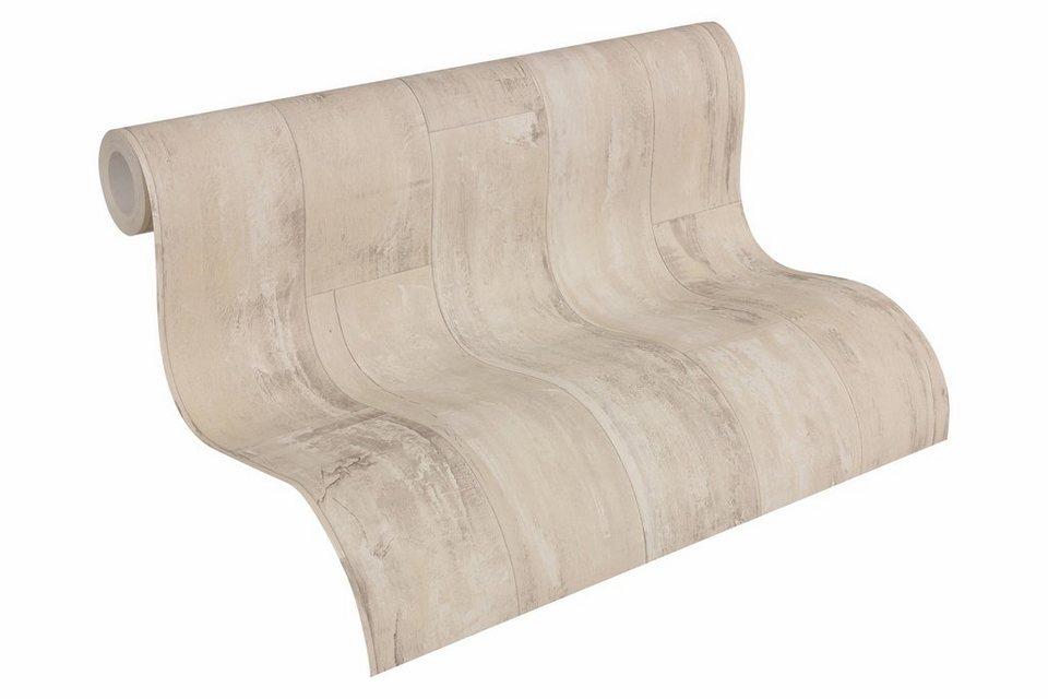 Papiertapete, Livingwalls, »Mustertapete Authentic Walls Holzoptik« in beige, schwarz
