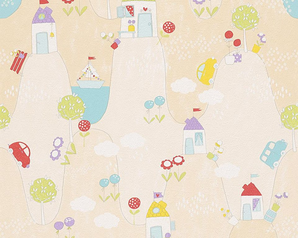 Papiertapete, livingwalls, »Mustertapete Boys and Girls 5« in beige, bunt