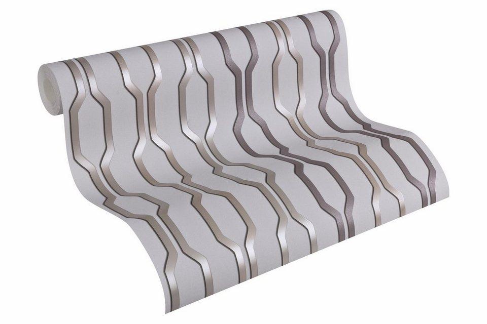 Vliestapete, Architects Paper, »Mustertapete AP 2000 Vertical Design by F.A. Porsche« in grau, metallic, schwarz