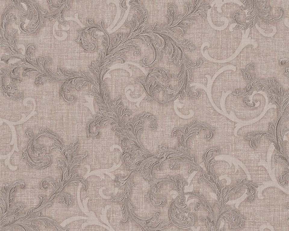 Vliestapete, Versace, »Mustertapete Versace 2 Baroque & Roll« in braun, grau, metallic