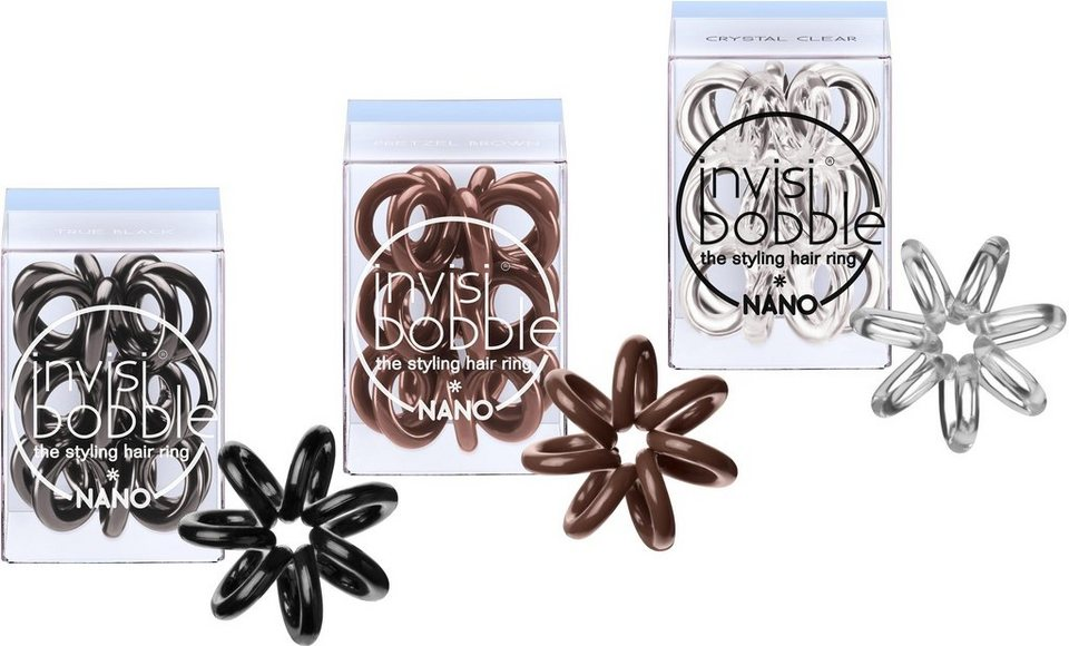 Invisibobble, »Nano«, Spiral-Haargummi in True Black/Pretzel Brown/Crystal Clear