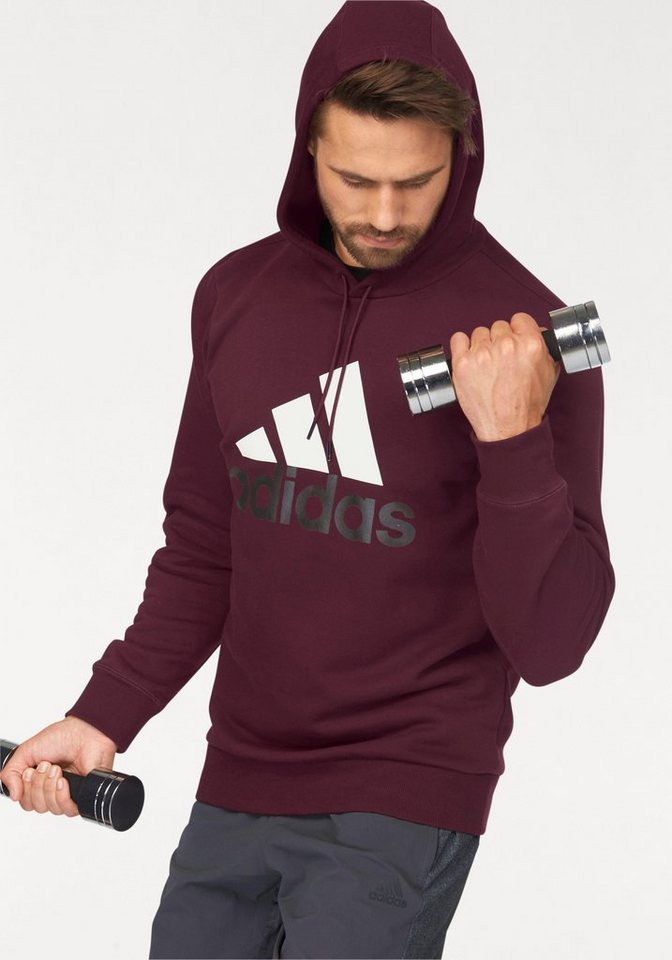 adidas Performance Kapuzensweatshirt »ESSENTIALS LOGO HOODIE FLEECE« in bordeaux