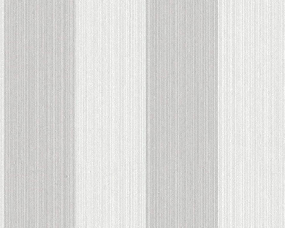 Vliestapete, livingwalls, »Streifentapete Villa Raphael duet« in grau, creme