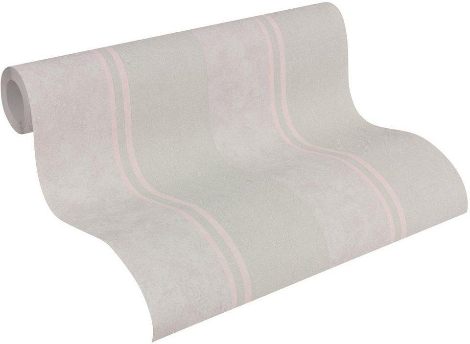 Vliestapete, livingwalls, »Streifentapete Elegance 3« in beige, rosa