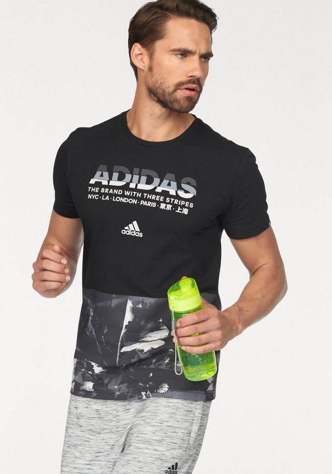 adidas Performance T-Shirt »ADI AOP« in schwarz