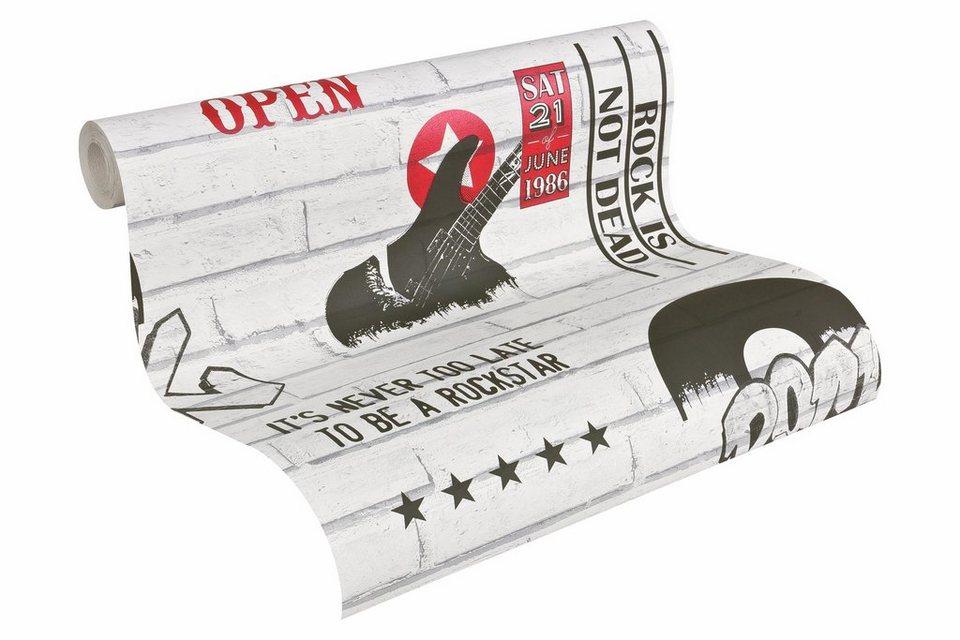 Papiertapete, livingwalls, »Mustertapete Authentic Walls Steinoptik« in rot, schwarz, weiß