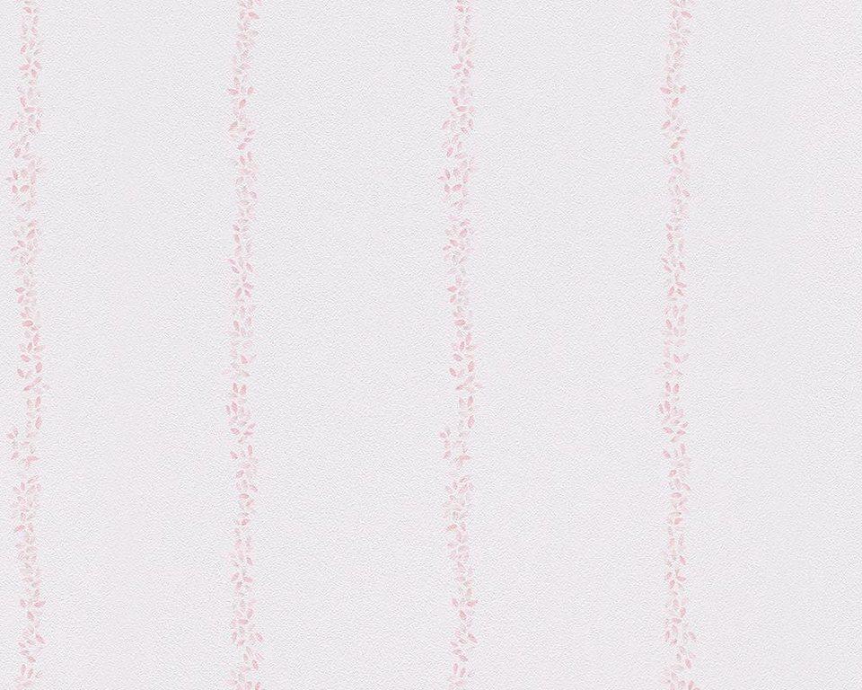Papiertapete, livingwalls, »Streifentapete Lovely Friends« in rosa, weiß