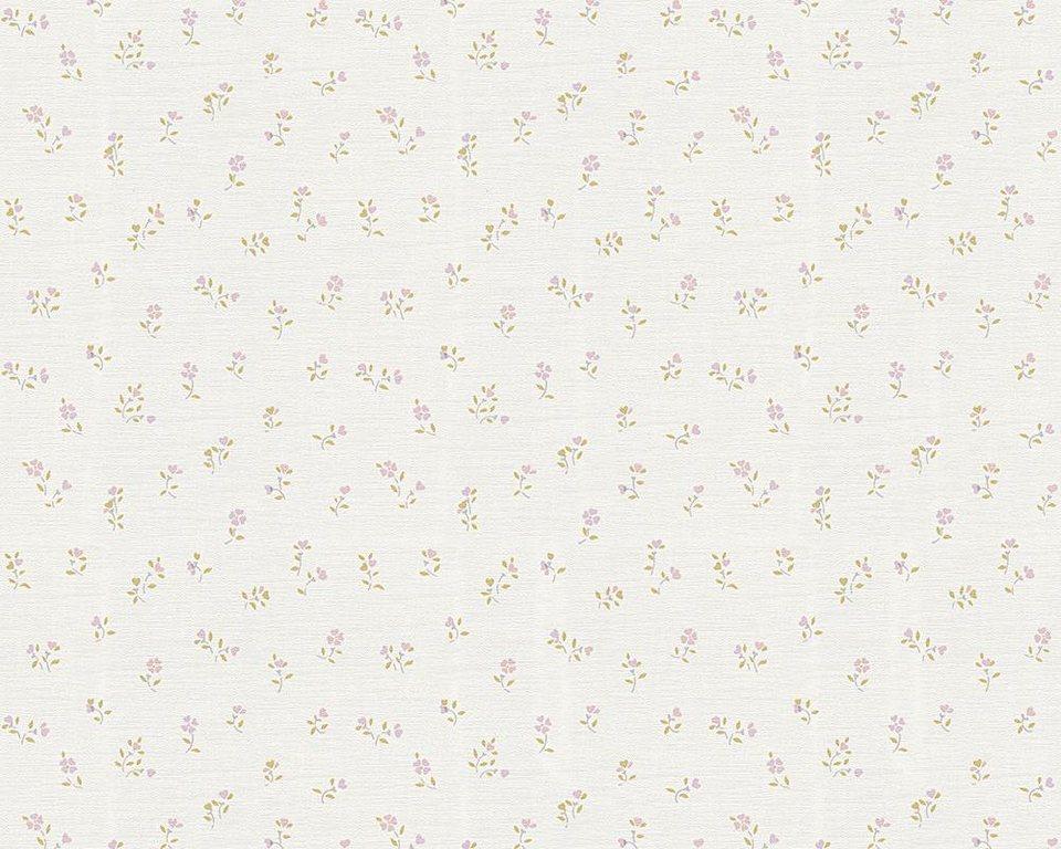Vliestapete, livingwalls, »Mustertapete Liberté Shabby Chic« in grün, lila, weiß