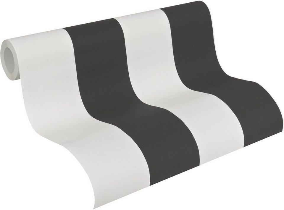 Vliestapete, livingwalls, »Streifentapete Elegance 3« in schwarz, weiß