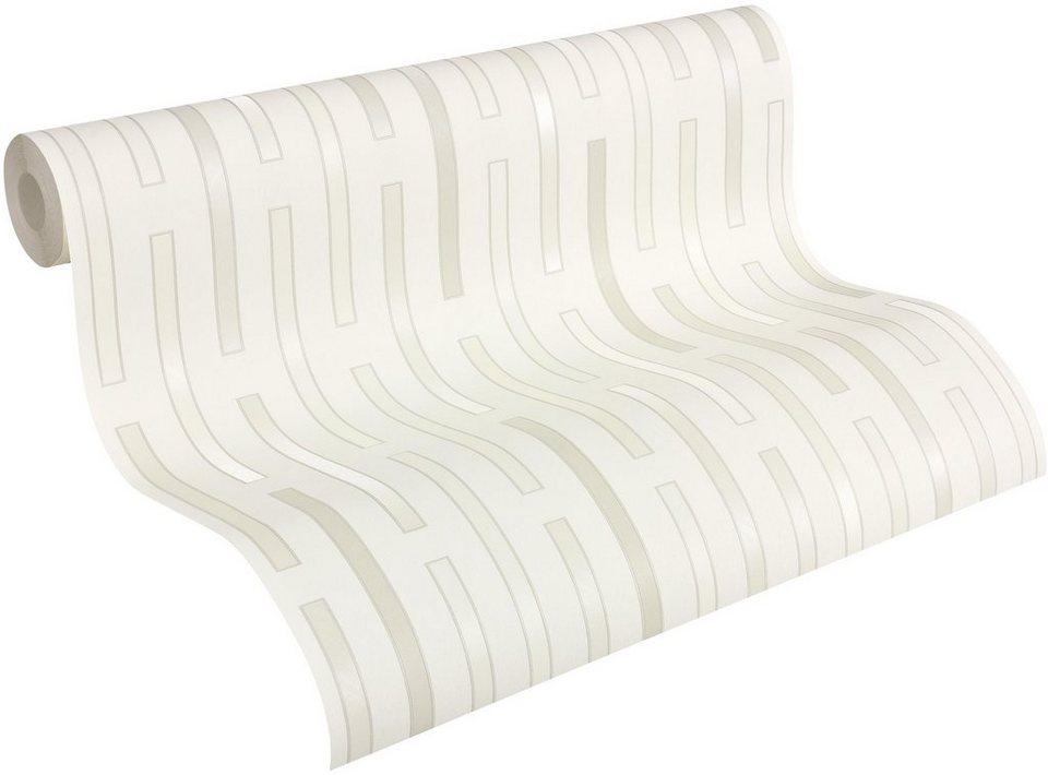 Vliestapete, Architects Paper, »Mustertapete AP 2000 DashLine Design by F.A. Porsche« in grau, metallic, weiß