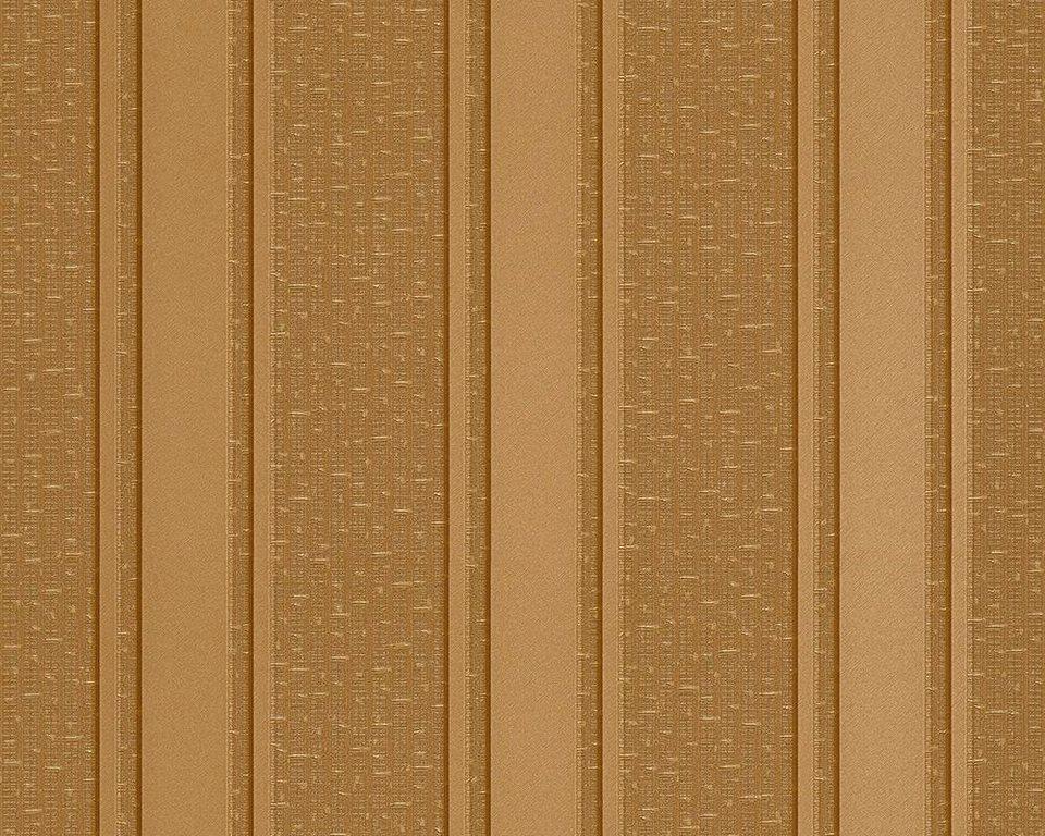 Vliestapete, Versace, »Streifentapete Versace 2 Geek« in braun, gelb, metallic