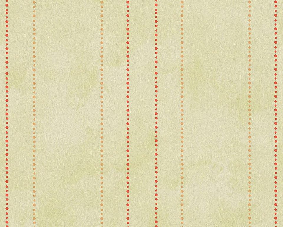 Papiertapete, livingwalls, »Streifentapete Lovely Friends« in grün, rot