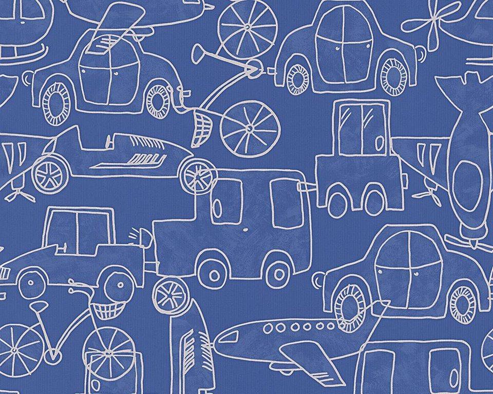 Papiertapete, livingwalls, »Mustertapete Boys and Girls 5« in blau, metallic