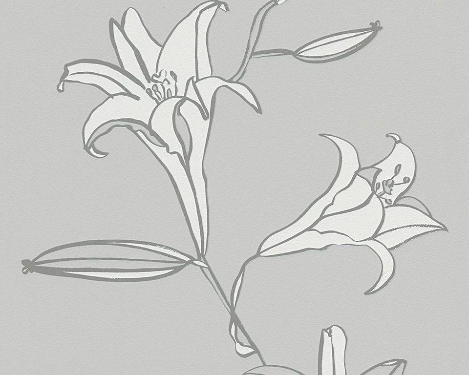 Vliestapete, livingwalls, »Mustertapete Villa Raphael Lilium« in grau, weiß
