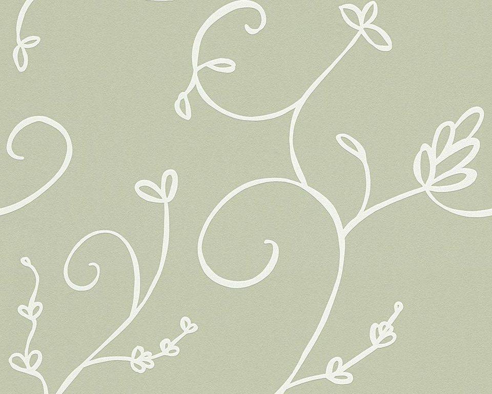 Vliestapete, livingwalls, »Mustertapete Villa Raphael Eden« in creme, grün