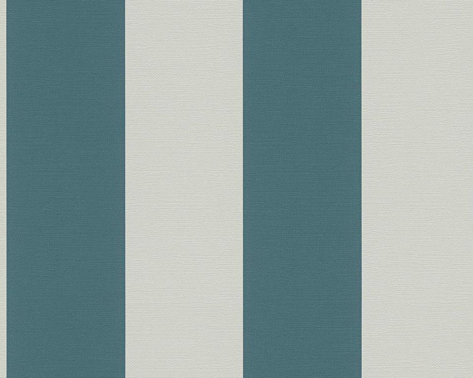 Vliestapete, Schöner Wohnen, »Streifentapete Schöner Wohnen 8« in grau, petrol