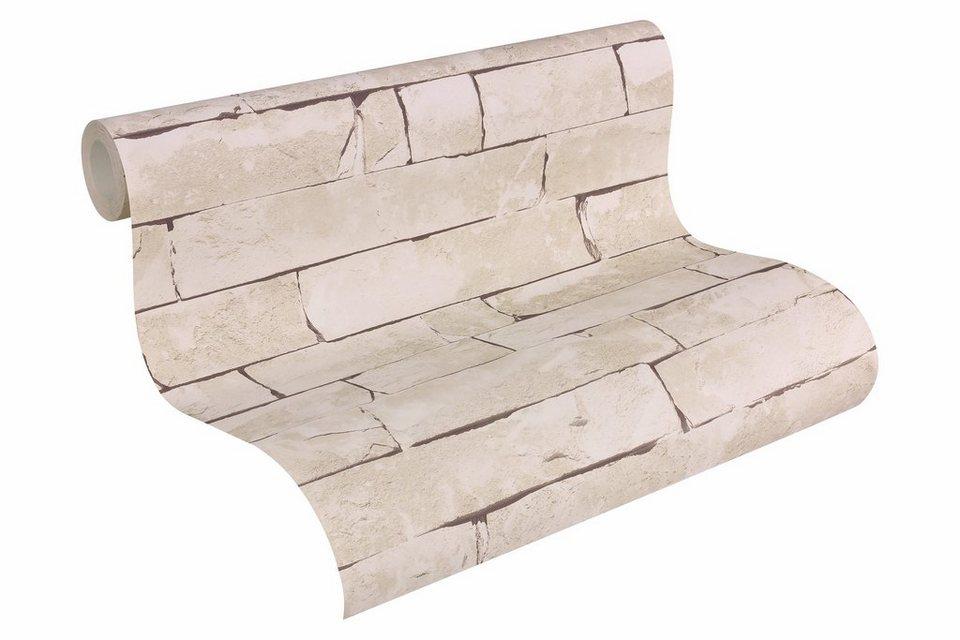 Papiertapete, Livingwalls, »Mustertapete Authentic Walls Steinoptik« in beige, grau