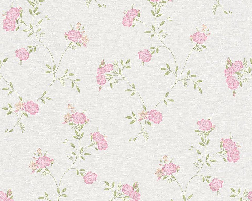 Vliestapete, livingwalls, »Mustertapete Liberté Landhaus« in grün, rosa, weiß