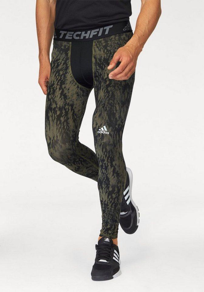 adidas Performance Funktionstights »TECHFIT BASE SHARDS GRAPHIC TIGHT« in olivgrün-schwarz