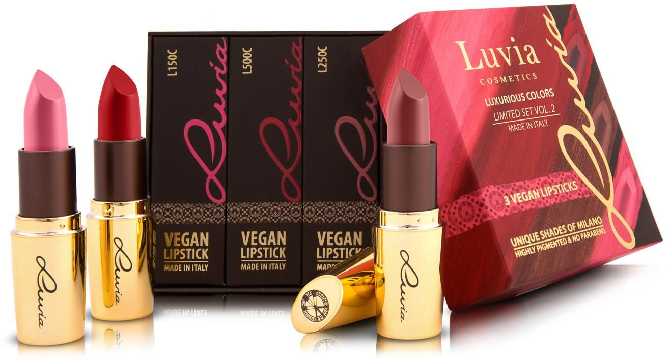 Luvia Cosmetics, »Luxurious Colors Vol. 2«, Lippenstift-Set mit 3 veganen Lippenstiften