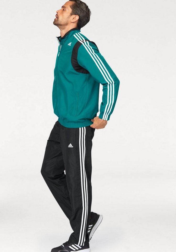 adidas Performance Sportanzug »TRACKSUIT BASIC 3S« in grün-schwarz