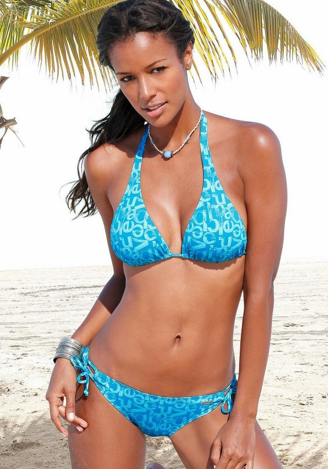 "Bikini-Hose ""Karibik"", Venice Beach in blau bedruckt"