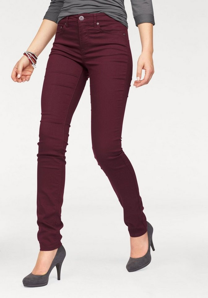 Arizona Röhrenjeans High-Waist in bordeaux