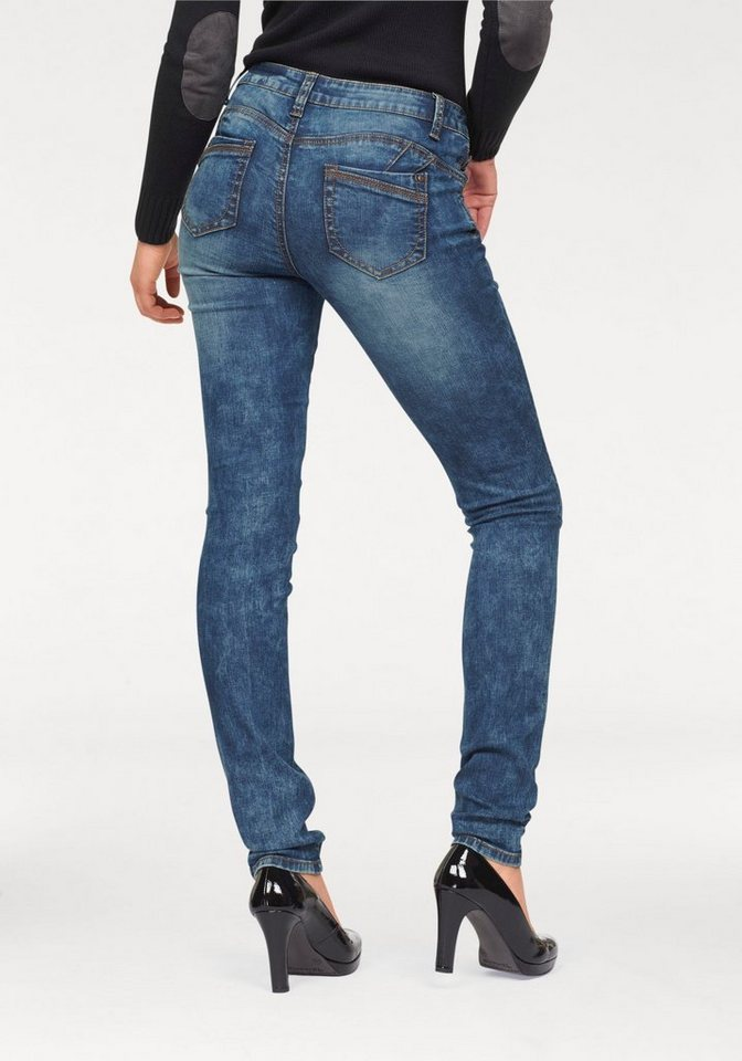 Arizona Skinny-fit-Jeans »Shaping destroyed Denim« Low Waist in heavy-blue