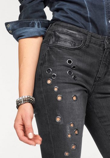 Arizona Slim-fit-Jeans Used-Look mit Nietenbesatz, High Waist