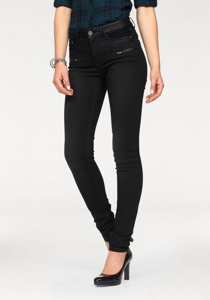 Arizona Skinny-fit-Jeans »mit Lederimitat-Besatz« in black