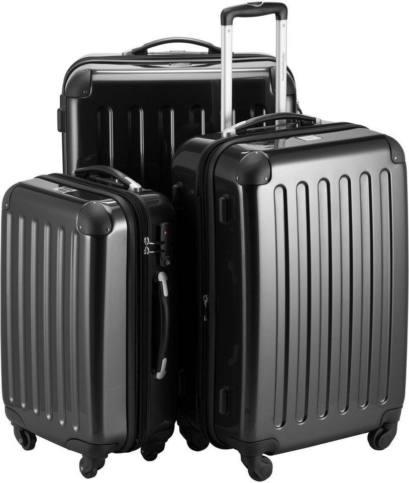 HAUPTSTADTKOFFER Hartschalen Trolley Set mit 4 Rollen, 3-tlg., »Alex mit TSA-Schloss« in schwarz