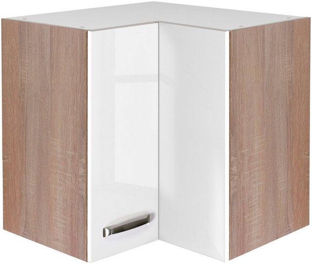 Flex-Well Exclusiv Eck-Hängeschrank Valero 60 cm x 60 cm Hochglanz Weiß