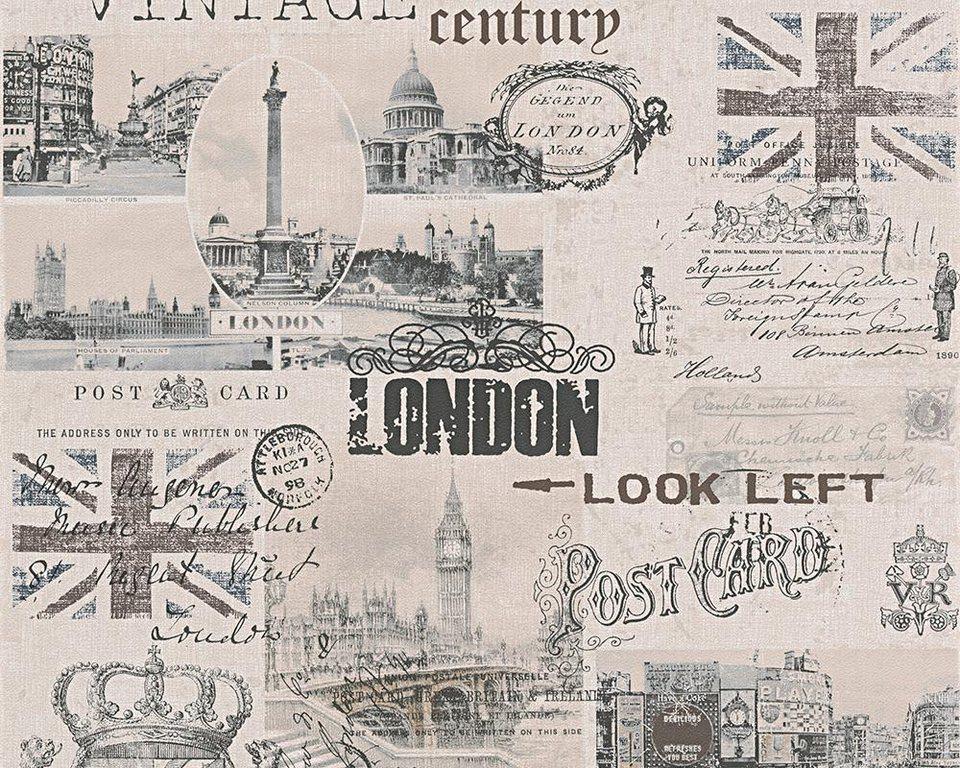 Papiertapete, Livingwalls, »Mustertapete Authentic Walls Vintage Style« in beige, braun, schwarz