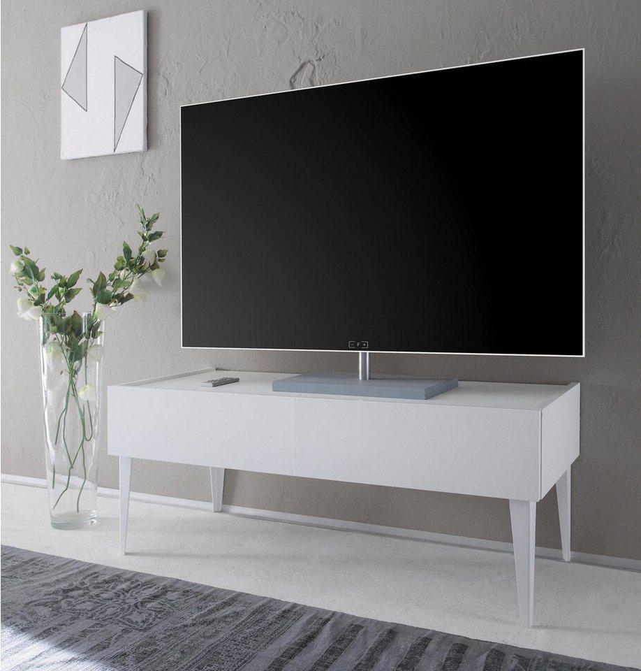 Tv lowboard weiß holz  Places of Style TV-Lowboard »Zela« mit 2 Schubladen, mit Füßen ...