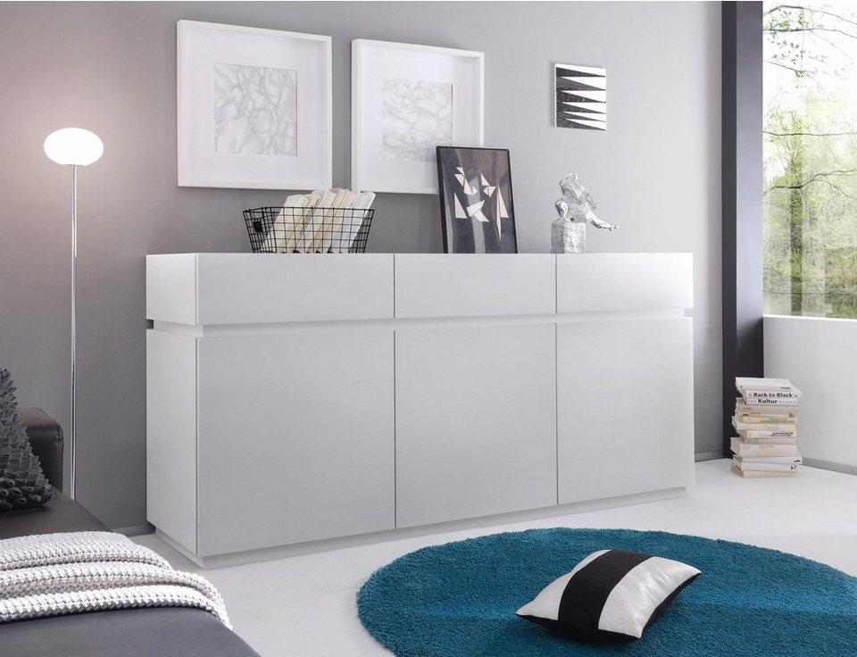 Sideboard »Zela«, 3-türig, Breite 184 cm in Weiß Lack matt, Blende/Sockel: Weiß Lack matt