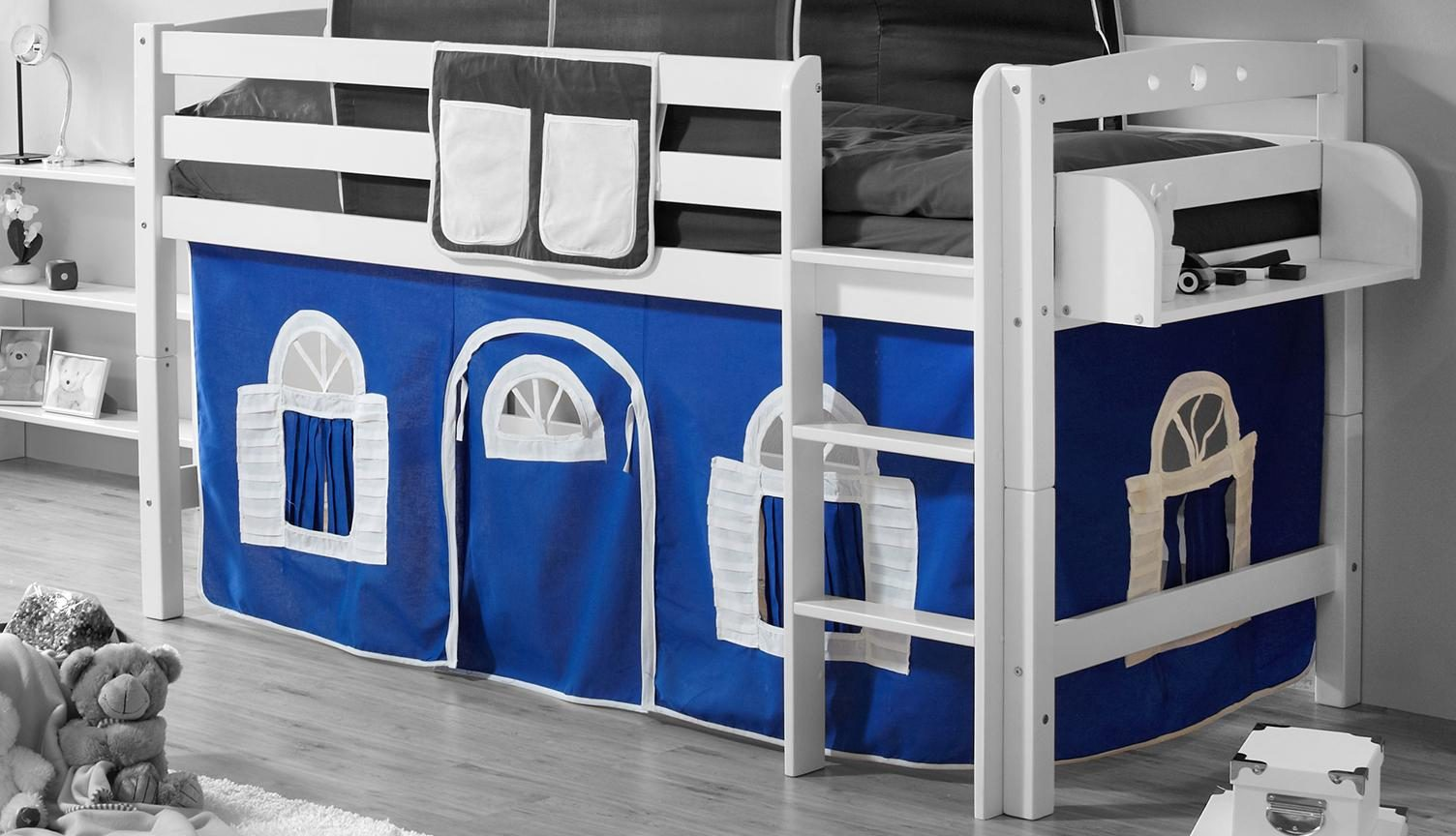 Ticaa Etagenbett Vorhang : Ticaa hochbett malte kiefer weiß goal inkl vorhang amazon