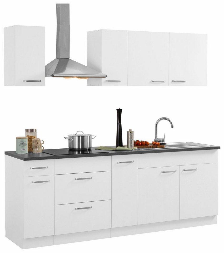 Küchen Küchenzeile mit E-Geräten, »Basel« Breite 220 cm in Weiß
