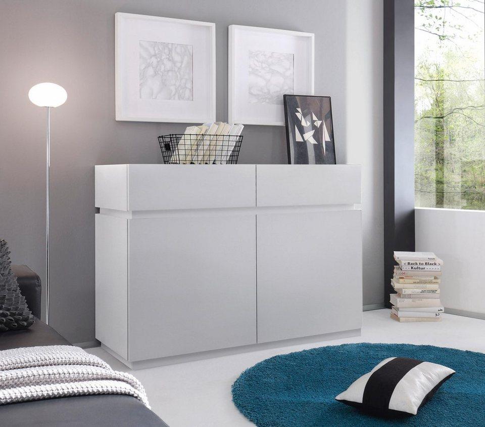 Sideboard »Zela«, 2-türig, Breite 123 cm in Weiß Lack matt, Blende/Sockel: Weiß Lack matt