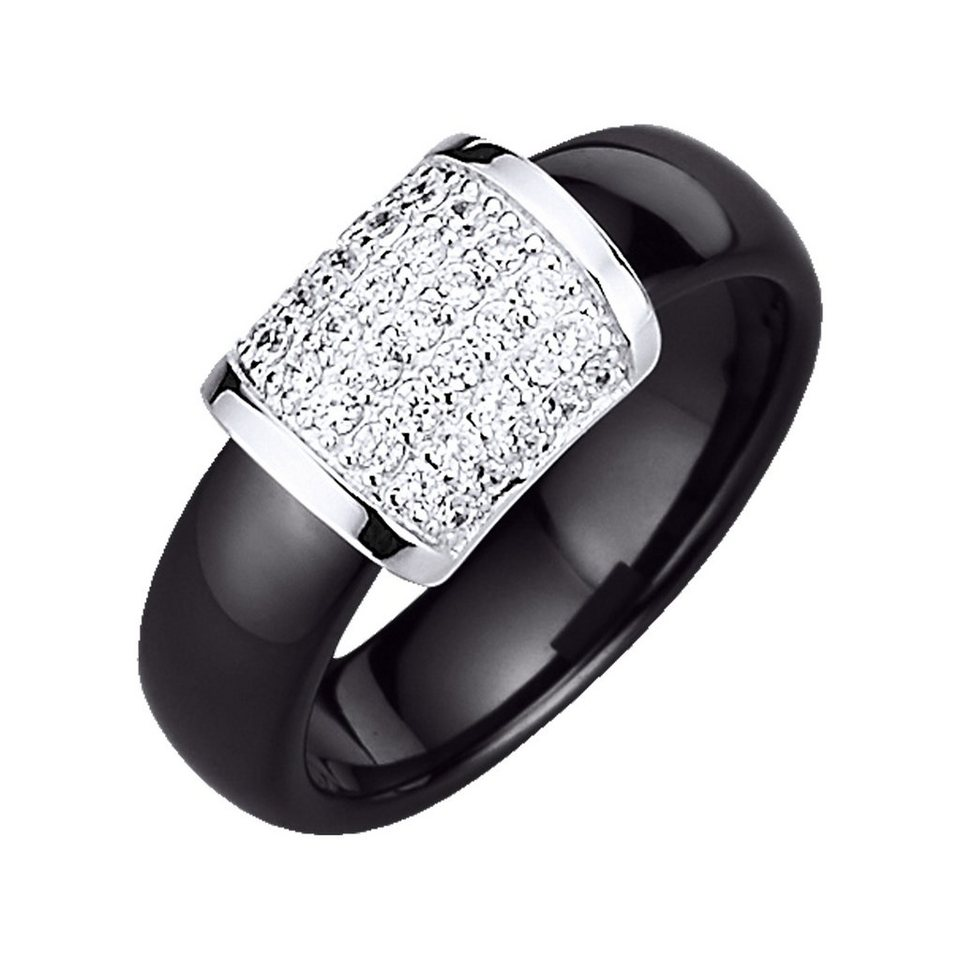 Jacques Lemans Ring »925/- Sterling Silber« in schwarz
