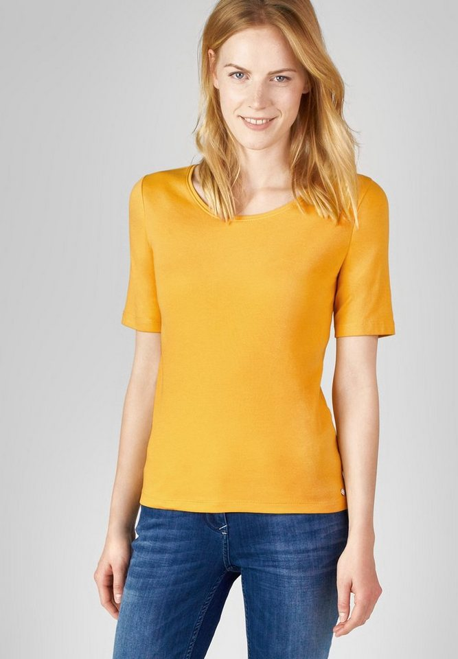 CECIL Basic-Halbarmshirt Lena in smooth rayon yellow