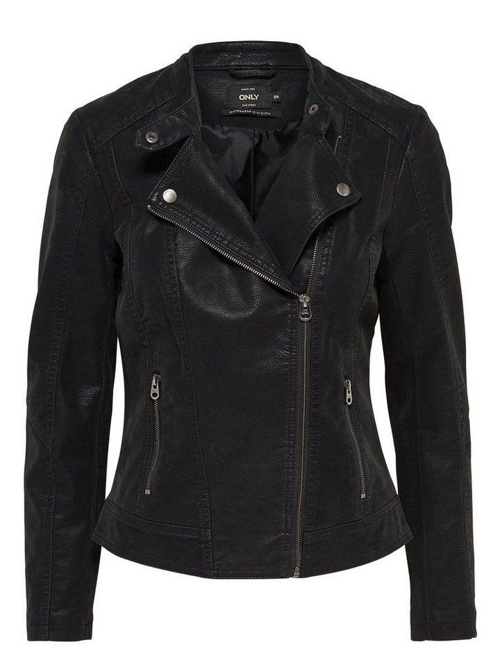 Only Biker-Lederlook- Jacke in Black