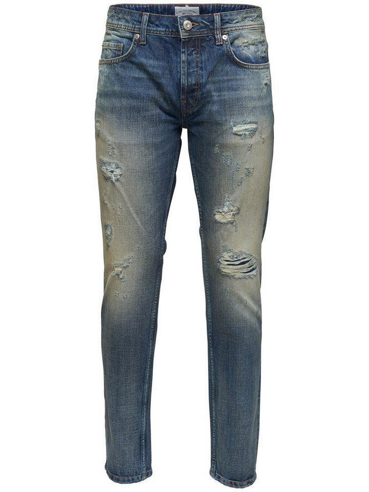 ONLY & SONS Weft vintage destroyed Slim Fit Jeans in Medium Blue Denim
