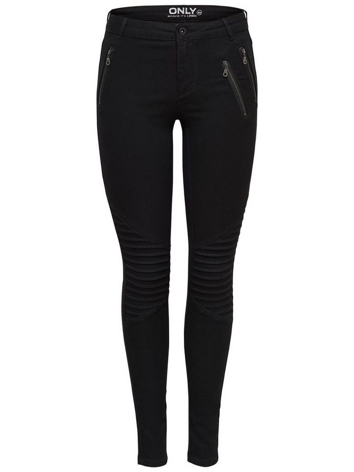 Only Royal reg harley zip biker Skinny Fit Jeans in Black