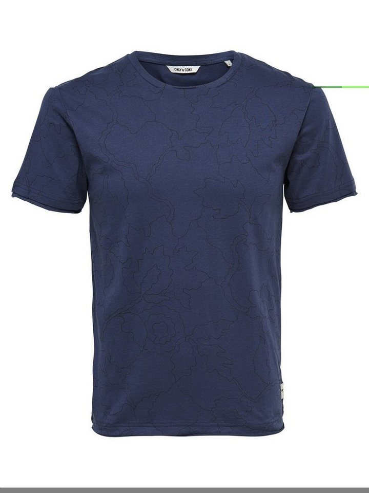 ONLY & SONS Bedrucktes T-Shirt in Dress Blues