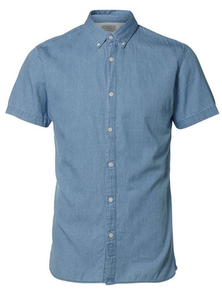 Selected Slim-Fit- Kurzarmhemd in Medium Blue Denim