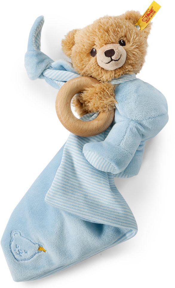 Steiff Plüschtier, Schmusetuch und Greifling, 3 in 1, »Schlaf gut Bär, blau«