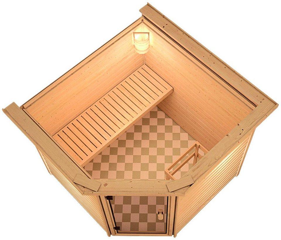 Sauna »Ivan«, 196/196/187cm, 38mm, 9-KW-Bio-Kombiofen ext. Steuerung in natur