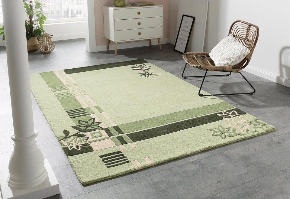 Teppich, Theko exklusiv, »Gaur«, handgetuftet, reine Schurwolle in grün
