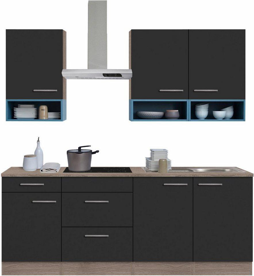 Optifit Küchenzeile mit E-Geräten,»Korfu« Breite 210 cm in anthrazit