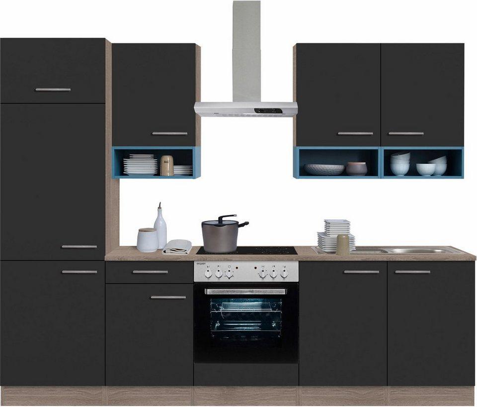 Optifit Küchenzeile mit E-Geräten,»Korfu« Breite 270 cm in anthrazit